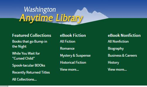 green and blue logo for washington anytime library